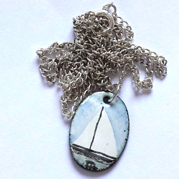small painted enamel pendant - white sails, blue sky