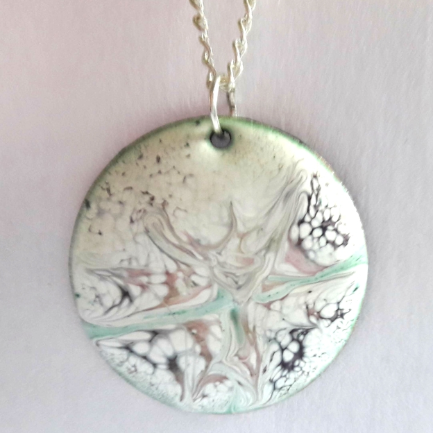 medium round pendant - pastel colours scrolled on white enamel