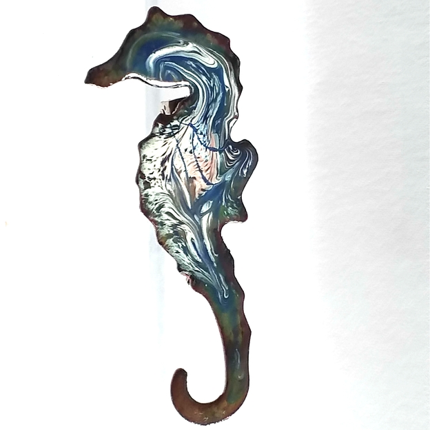 Seahorse - scrolled white and pink on blue over clear enamel