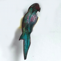 brooch - parrot, scrolled red and white on turquoise enamel