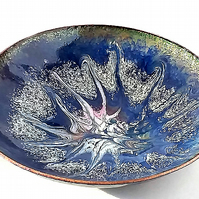 dish scrolled white and pink on royal blue over clear enamel