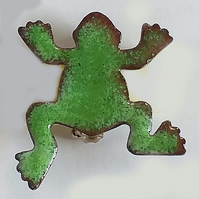 enamel brooch - green frog No2