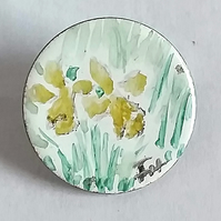painted enamel brooch - daffodil