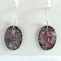 enamelled earrings - oval scrolled pink and black over white enamel