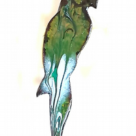 brooch - parrot, scrolled green and white on clear enamel