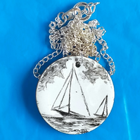 medium painted enamel pendant - sailing ship at sea No2