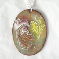 enamel pendant - oval scrolled white, purple, gold, brown on grey over clear