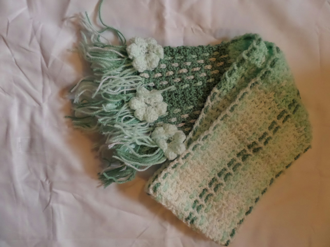 Multi Green Crochet and Woven Scarf ,soft yarn, great for cold weather