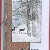 Christmas Card - In the Forest on a very cold snowy day