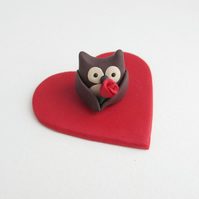 Tiny Valentine's Owl Ornament with a Single Red Rose on a Sparkly Red Heart