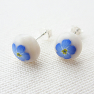 Forget-me-not stud earrings on sterling silver earring posts