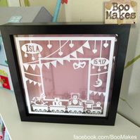 New Baby Floating photo frame paper cut in Black Frame