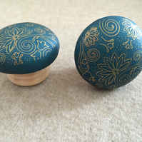 Pair of Polymer Clay Dark Green Drawer Knobs Coat Hook