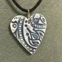 Polymer Clay Large Heart Pendant,faux ceramic