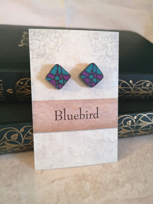 Mosaic Square Polymer Clay Earrings