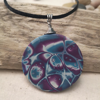 Round Polymer Clay pendant, Purple and blue pattern