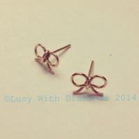 9ct Rose Gold Bow Studs