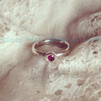Sterling silver and Rhodalite Garnet (January birthstone) ring