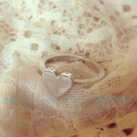 Silver large heart ring