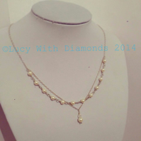 Sterling silver Swarovski layered pearl necklace