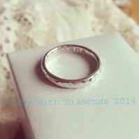 Hammered finish silver ring - can be personalised