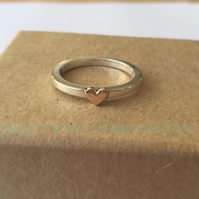 Sterling silver stacking ring with 9ct Rose Gold heart