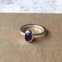 Oval cabochon Amethyst stacking ring polished finish