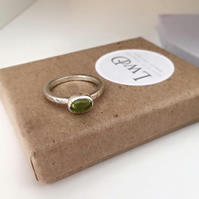 Sterling silver hammered finish stacking ring with oval Peridot