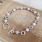 Sterling silver and rose quartz bracelet with t bar clasp