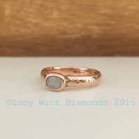 9ct Rose Gold Opal Ring Hammered Finish