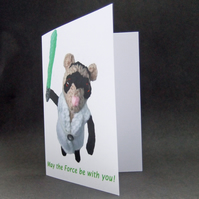 Star Wars card Ferret Luke says May the force be with you