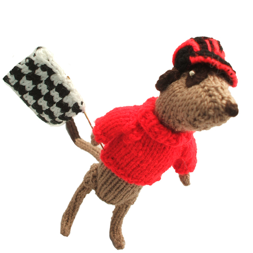Formula 1 racing fan meerkat handknitted in custom colours