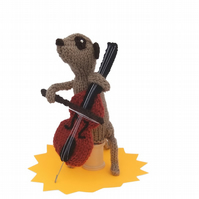 Knitted Meerkat with cello, cellist, musician, knitted animal
