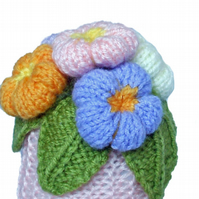 Knitted flowers in a pot