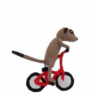 Tour de France Cyclist Meerkat, knitted bicycle