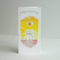 Anniversary Card - Sunset cats