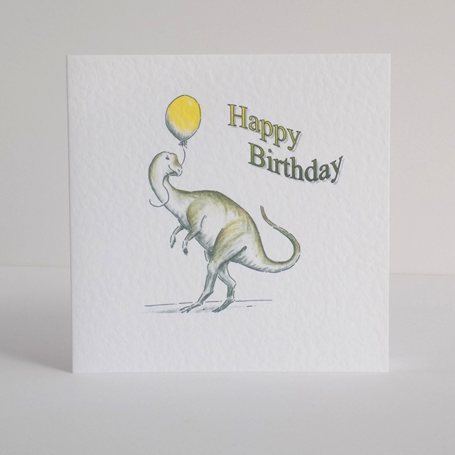 Dinosaur Birthday Card 'Yellow Balloon'