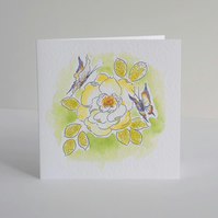 Blank greeting card - 'China rose'