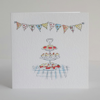 Birthday Card Bunting Tea Card