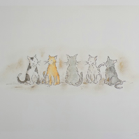 Art Print Cat  'Line-up' A4
