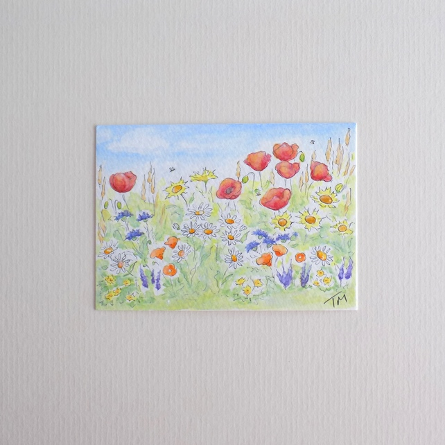 Original Watercolour ACEO 'Wildflower Meadow'