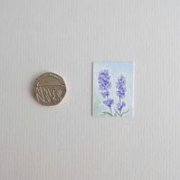 Miniature Watercolour Painting 'Lavender' (2.5cm x 3.5cm)