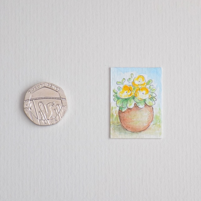 Miniature Watercolour Painting 'Flower Pot'  (2.5cm x 3.5cm)