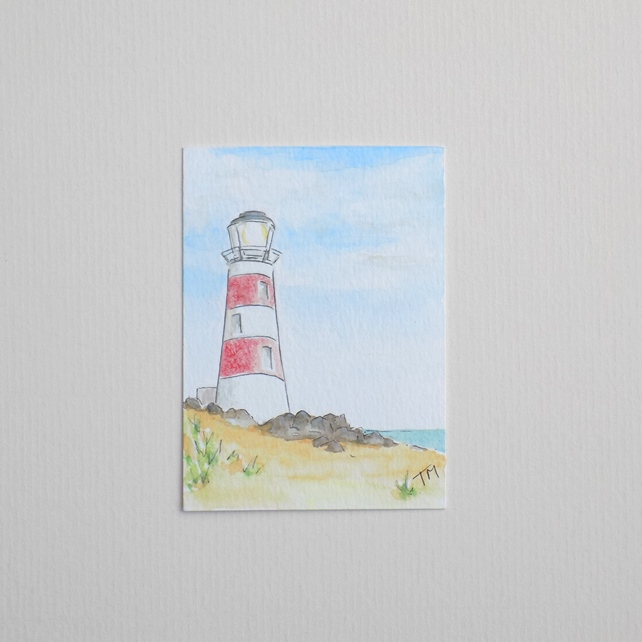 Original watercolour ACEO - 'Lighthouse'