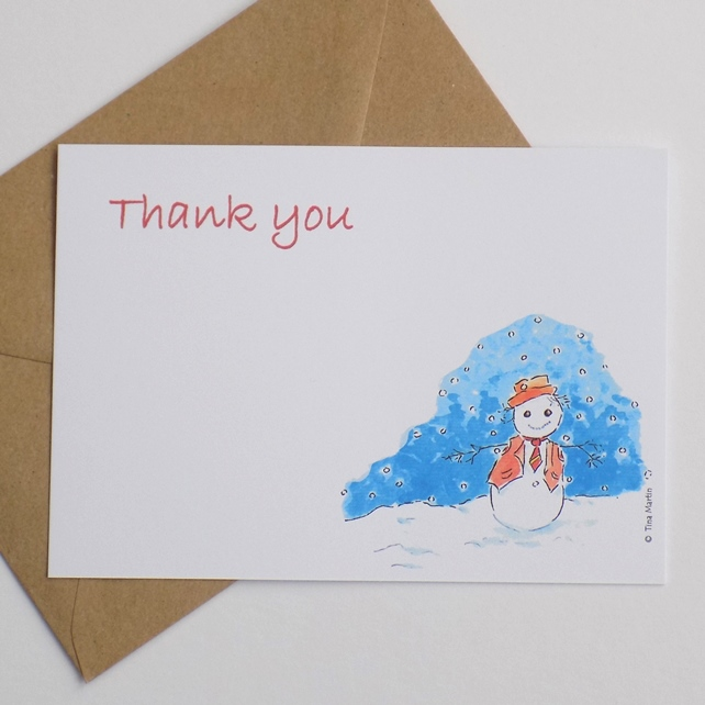 Christmas Thank You Cards.Pack Of 6 Christmas Thank You Cards