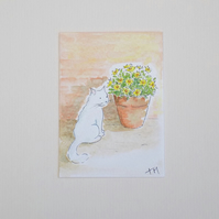 Original Watercolour ACEO - 'Alfie in the garden'