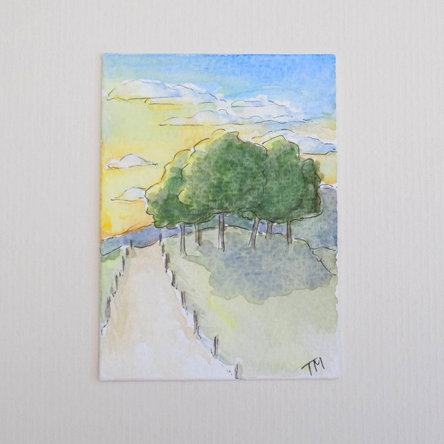 Original watercolour ACEO - 'Sunset trees'