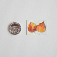 Miniature Watercolour Painting 'Autumn Elm' (2.5cm x 3.5 cm)