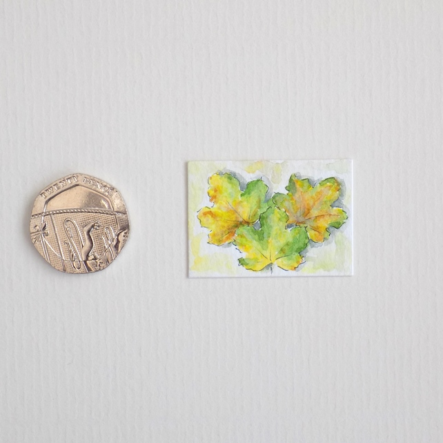 Miniature Watercolour Painting 'Autumn Greens' (2.5cm x 3.5cm)