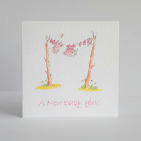 New Baby Girl Card  'Baby clothes line'